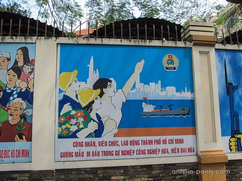 communist placards in Vietnam