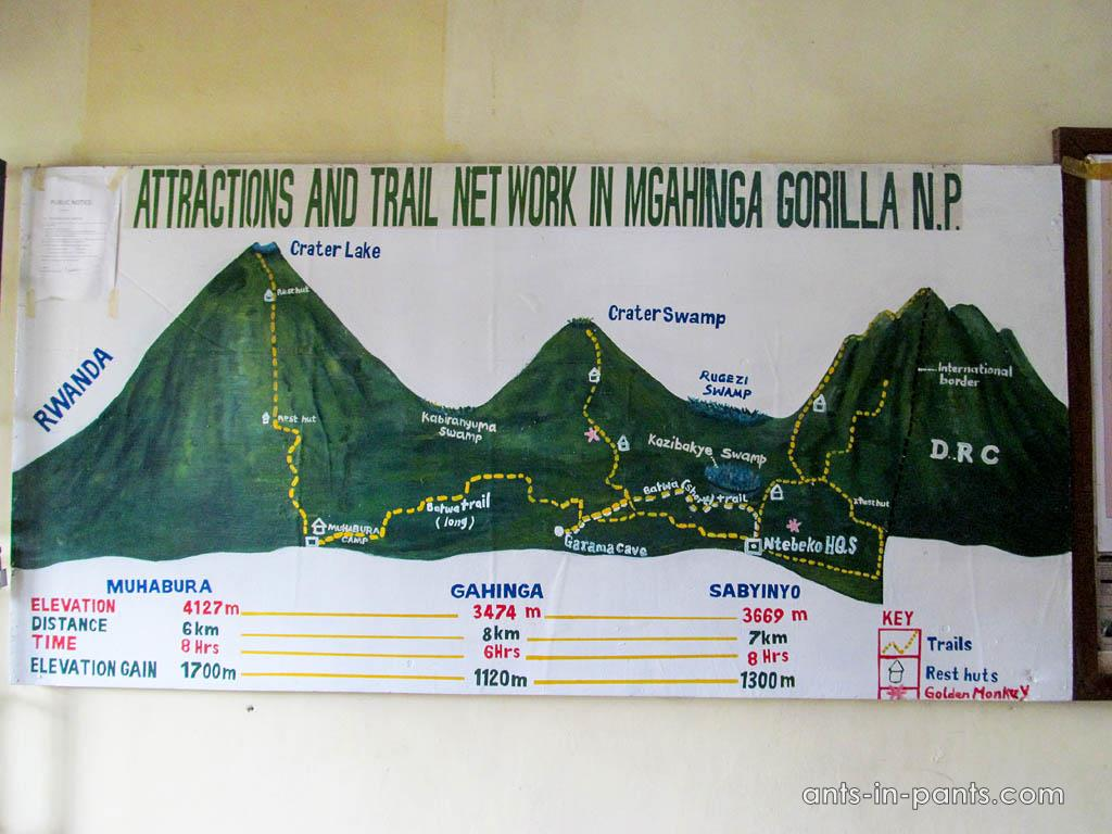 Attractions and trail network in Mgahinga