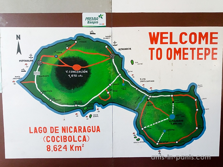 the map of Ometepe